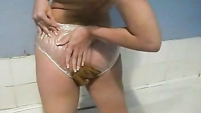 Poop   Scat in Love - ___ARESTRA___scat - girl shit in panties - cute blonde into a transparent pants- panty poop 4