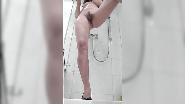 Sexy cow pat in shower
